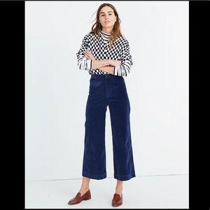 Madewell Blue Velveteen Emmett Crop Pants